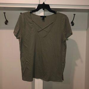 Forever 21 green short sleeve shirt size large